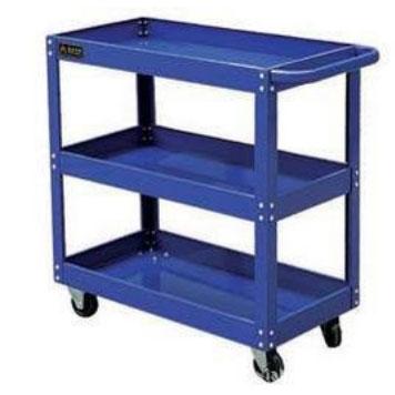 钢制平板推车三层蓝色